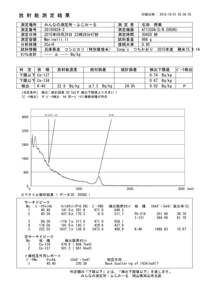 20560  兵庫県産 コシヒカリ(特別栽培米) Coop`s  つちかおり 2015年産 精米15.9.14