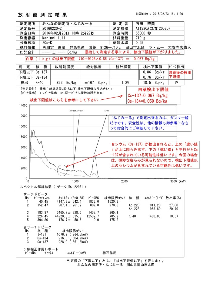 22951-1  再測定 白菜 群馬県産 濃縮 9126→710g 岡山市北区 ラ・ムー 大安寺店購入