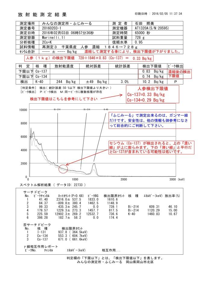 22733-1 再測定3 千葉県産 人参 濃縮 1846→728g