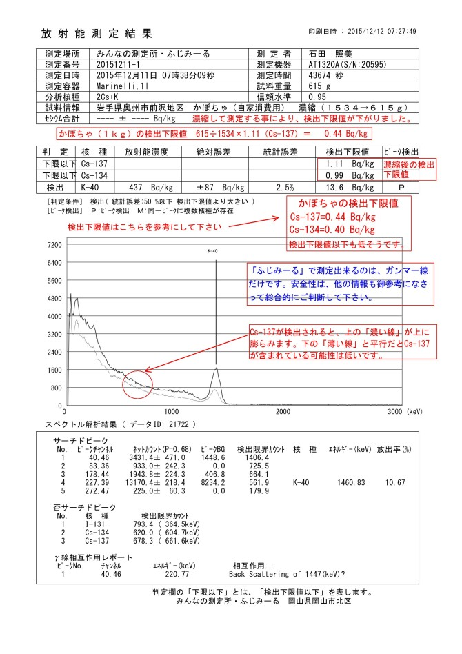 21722-1  岩手県奥州市前沢地区 かぼちゃ(自家消費用) 濃縮(1534→615g)