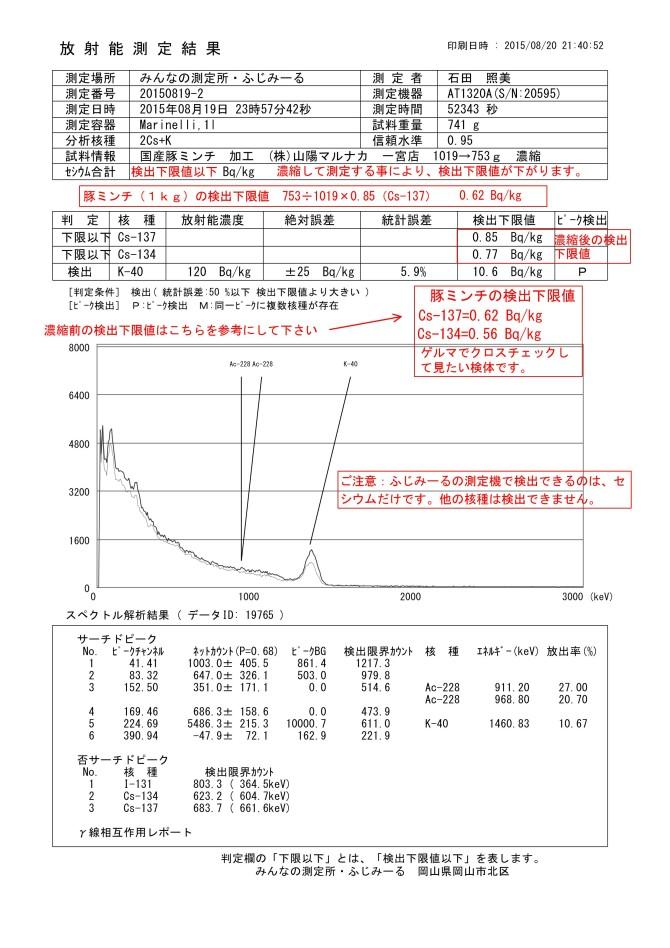 19765-1 国産豚ミンチ 加工 (株)山陽マルナカ 一宮店 1019→753g 濃縮