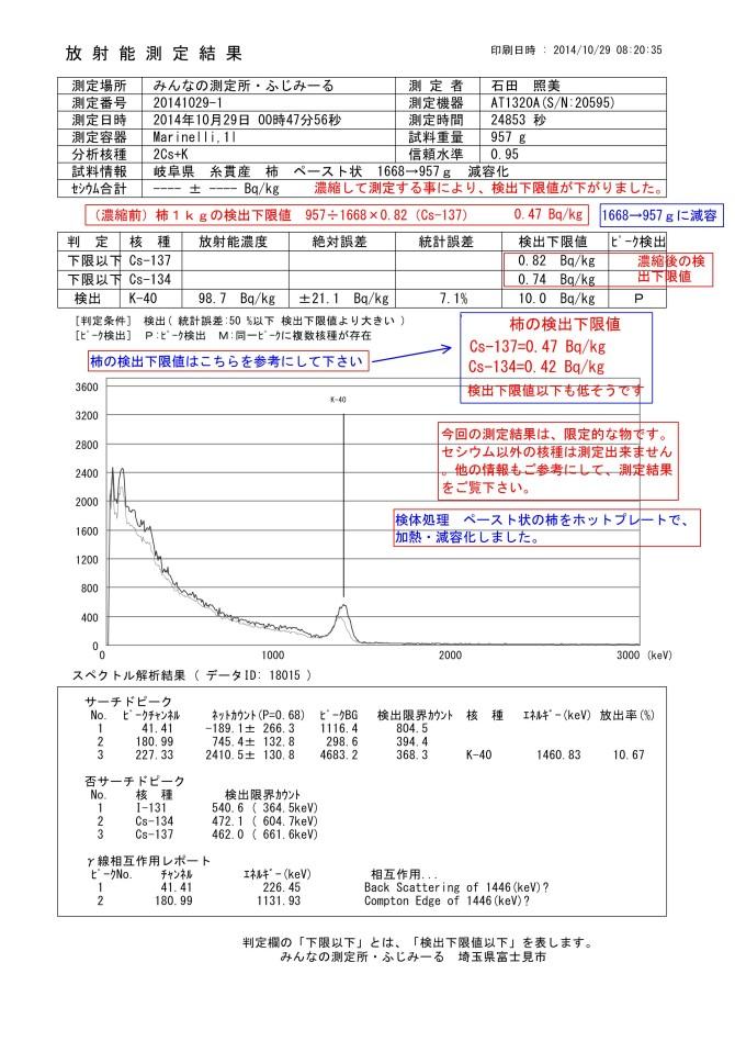 18015-1 岐阜県 糸貫産 柿ペースト状