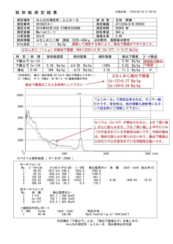 22885-1 ぶなしめじ二株 濃縮 2225→664g JA中野市 長野県中野市