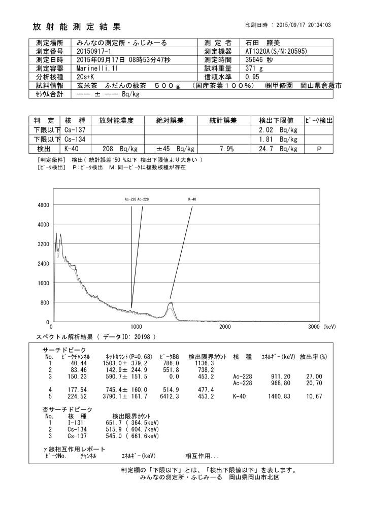 20198 玄米茶 ふだんの緑茶 500g (国産茶葉100%) ㈱甲修園 岡山県倉敷市