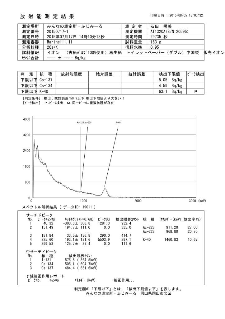 イオン (19011 古紙パルプ100%使用)再生紙 トイレットペーパー (ダブル) 中国製 販売イオン